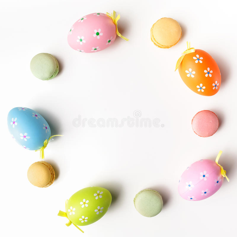 Stylish Frame background with easter eggs with copy space for text. on white background. Flat lay, top view. Easter stock photography