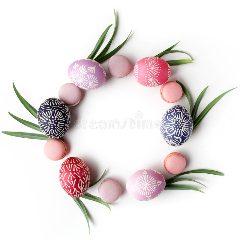 Stylish Frame background with easter eggs with copy space for text. on white background. Flat lay, top view. Easter royalty free stock image