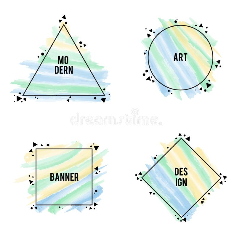 Stylish frames different shapes with pastel colors brush strokes. Vector set. Modern art graphics, hipster style. For websites,placards, brochures, posters vector illustration