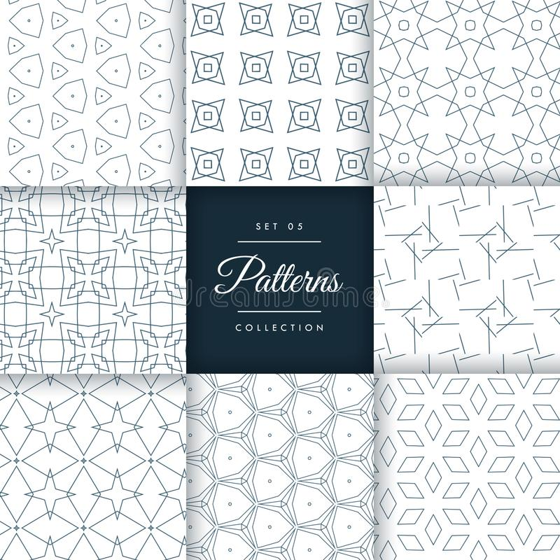 Stylish geometric patterns set collection. Vector royalty free illustration