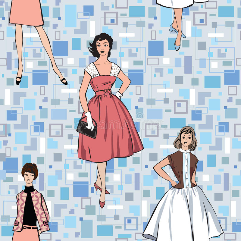 Stylish girl (60s style) seamless background. Stylish fashion dressed girls (1950s 1960s style) seamless pattern: vintage fashion silhouettes from 60s. Retro vector illustration