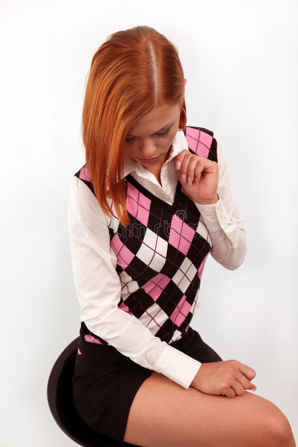 Download Stylish Girl With Is Bright-red Hair Stock Photo - Image: 10579664