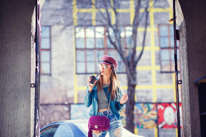 Stylish girl with coffee royalty free stock image
