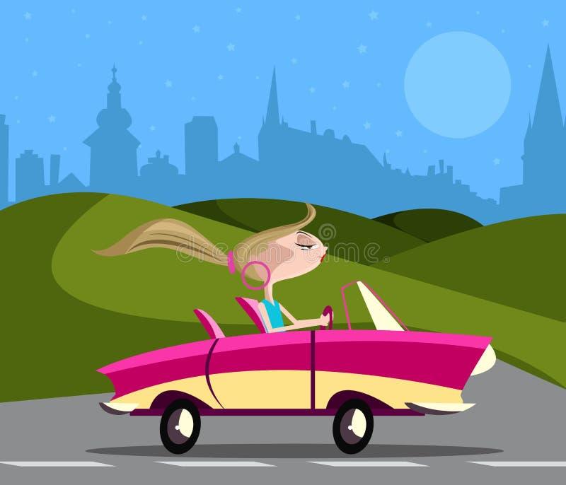 Stylish girl driving car. On road royalty free illustration