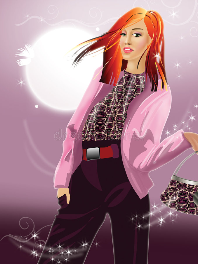 Stylish  Girl With Red Hair Royalty Free Stock Photography