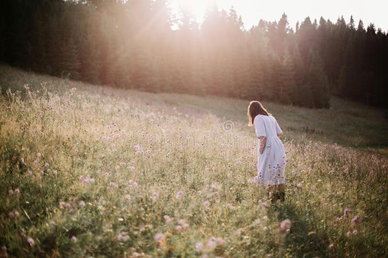 Stylish girl in rustic dress walking in wildflowers in sunny meadow in mountains. Boho woman relaxing in countryside flowers at. Sunset, rural simple life royalty free stock images