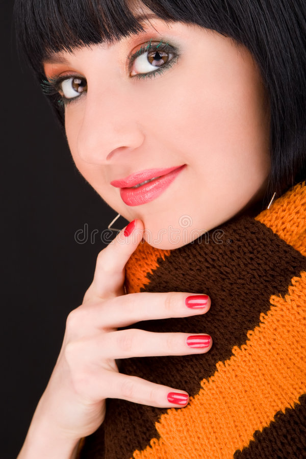 Download Stylish girl in scarf stock photo. Image of face, brunette - 9273372