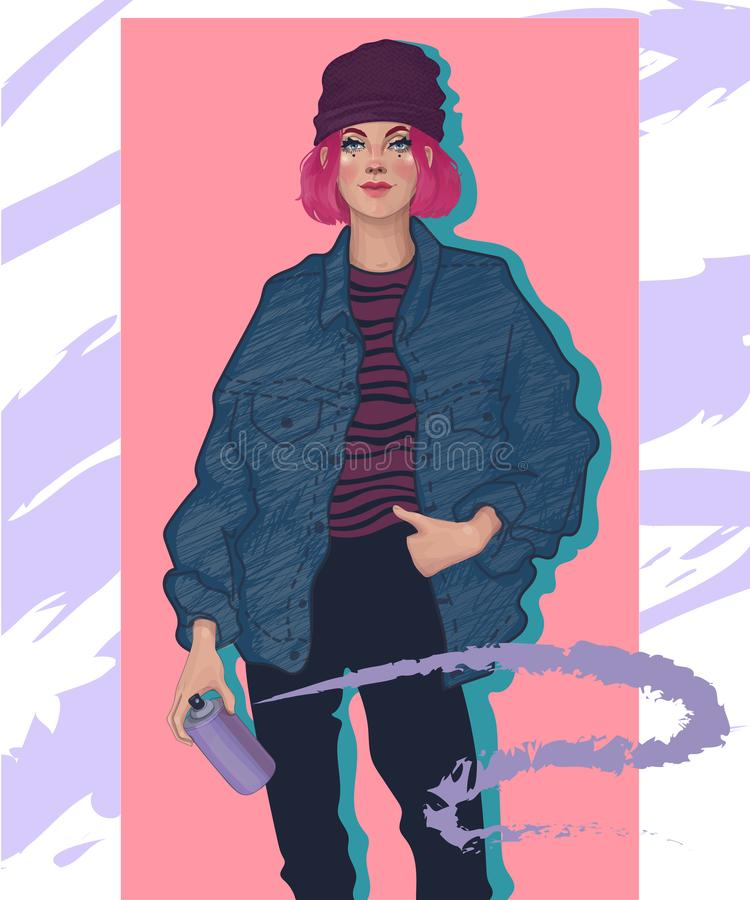 Stylish girl with spray paint. Stylish fashionable girl rebel with pink hair holding a spray with paint, drawing graffiti on the walls vector illustration