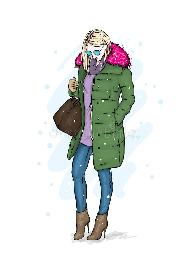 Stylish girl in a trendy winter coat, boots and with a bag. Vector illustration. Fashion sketch. royalty free illustration