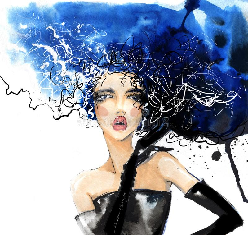 Free Stylish Girl With Gloves And Disheveled Hair, Illustration With Mascara. Stock Photography - 104949502