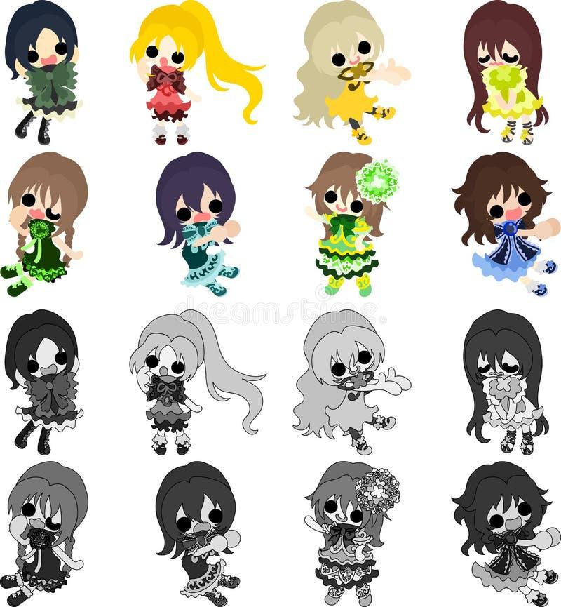 The stylish girls royalty free illustration