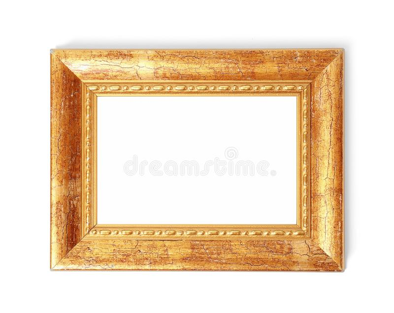 Stylish gold frame on white background, top view. Space for text stock image