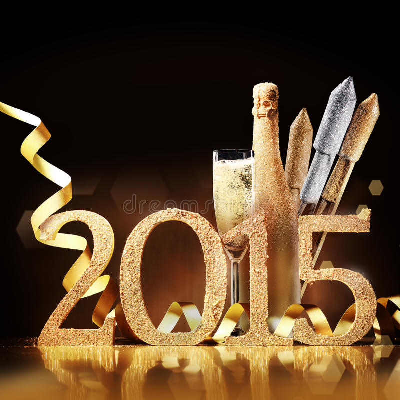 Stylish gold themed 2015 New Year background stock photo