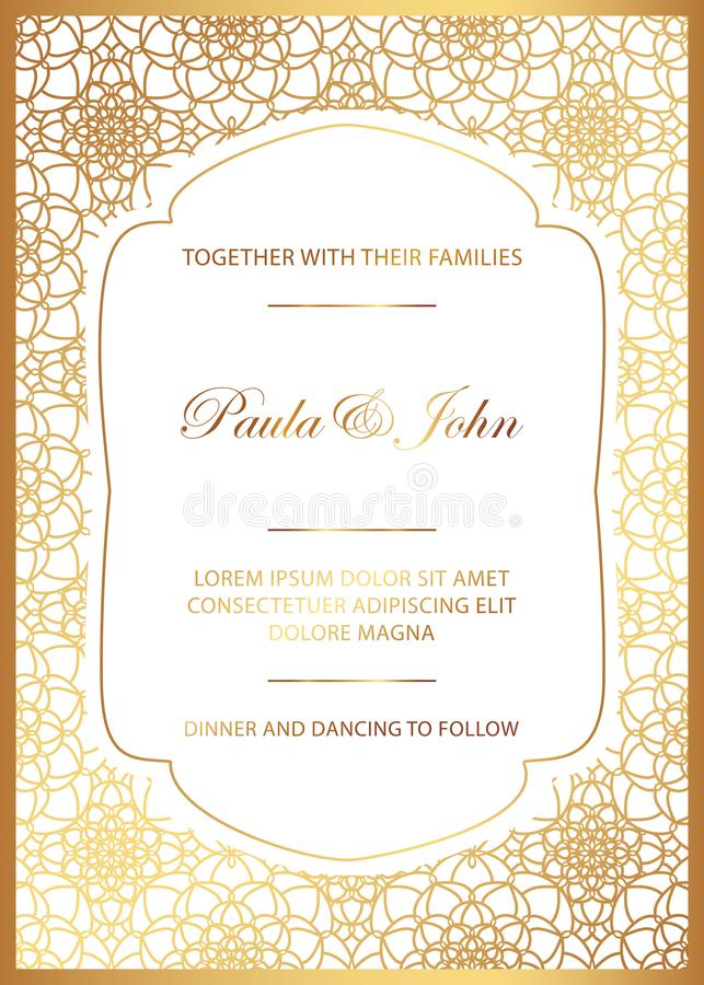 Stylish Gold and White Wedding Card. Royal Vintage Wedding Invitation template. Save the date card. Trendy design with geometric vector illustration