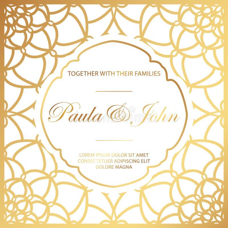 Stylish Gold and White Wedding Card. Royal Vintage Wedding Invit stock illustration