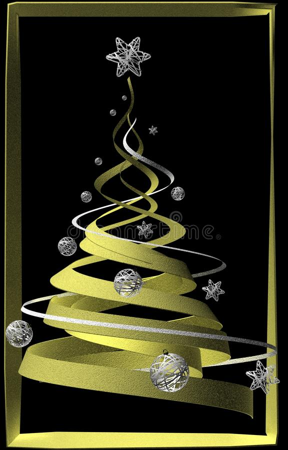 Download Stylish Golden Decorated Christmas Tree Stock Illustration - Image: 16618507