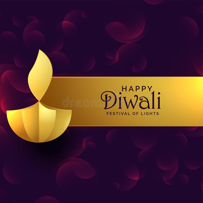 Stylish golden diwali diya creative design background vector illustration