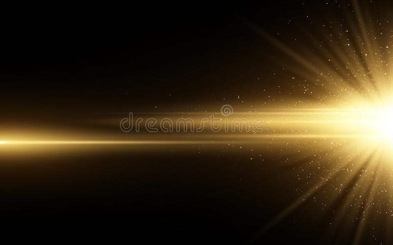 Stylish golden light effect isolated on black background. Golden glitters. Glowing star with sparkles. Glowing line. Vector. Illustration. EPS 10 royalty free illustration