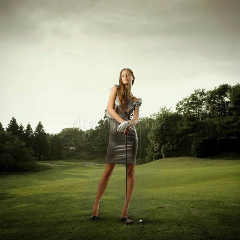 Stylish golf player stock image