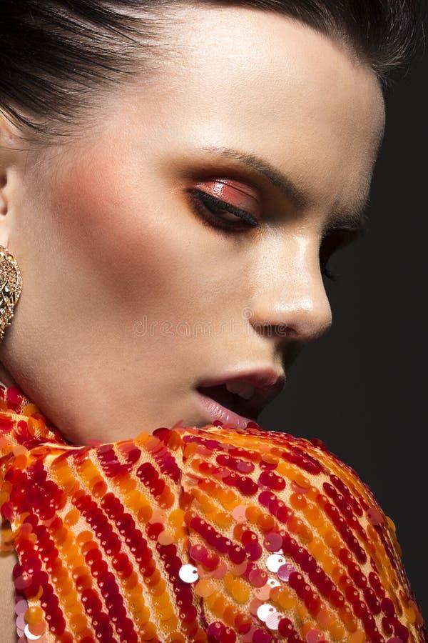 Stylish Gorgeous Woman Portrait. Elegant Dress. Classy Evening Make Up royalty free stock photo