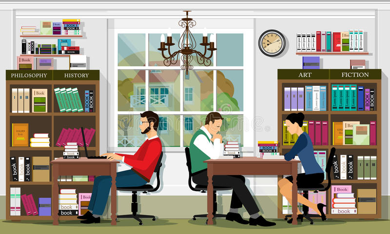 Stylish graphic library interior with furniture and people. Reading area of the library. Detailed vector set. stock illustration