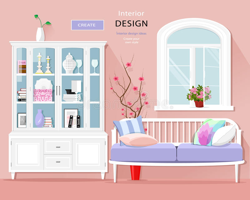 Stylish graphic room interior with pastel colors: sofa, cupboard and window. Cute room set. Vector illustration. Vintage living room furniture stock illustration