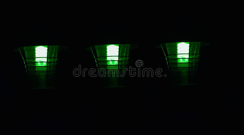 Stylish green road lamps isolated object unique photo stock images