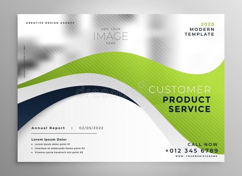 Stylish green wave brochure design template royalty free illustration
