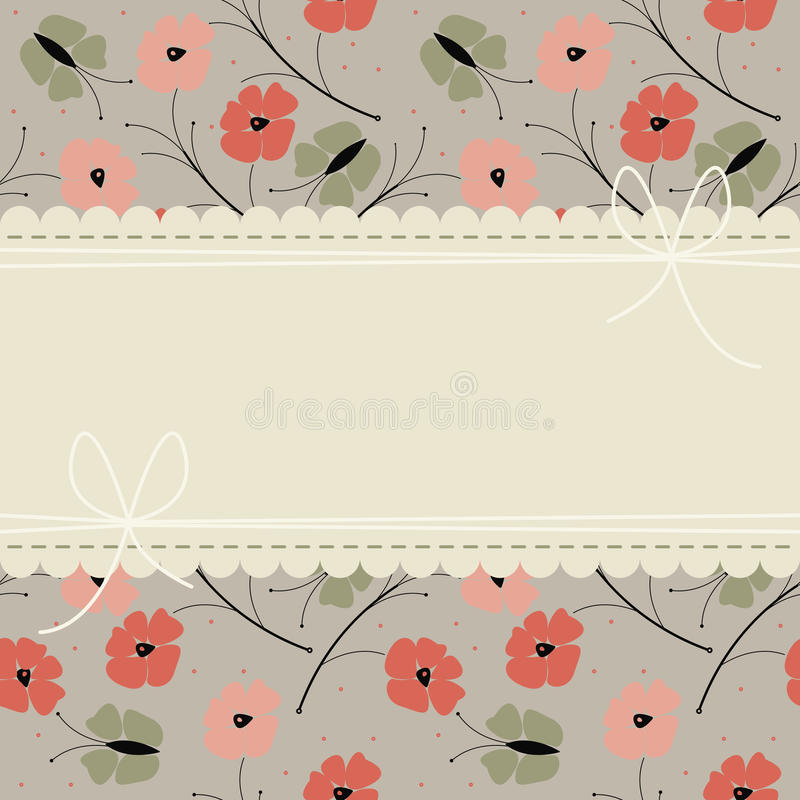 Stylish greeting card with colorful poppy flowers and butterflies stock illustration