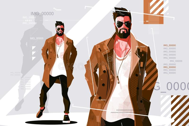Stylish guy in coat. Vector illustration. Bearded fashionable man in dark sunglasses and trendy casual clothes flat style design. Fashion model concept vector illustration