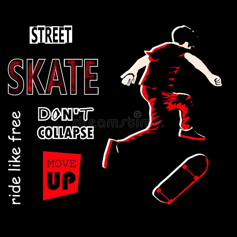 Stylish guy rides a skateboard in sneakers. Skateboard. Skateboarder. Figure skater. Vector illustration for a card or p royalty free illustration