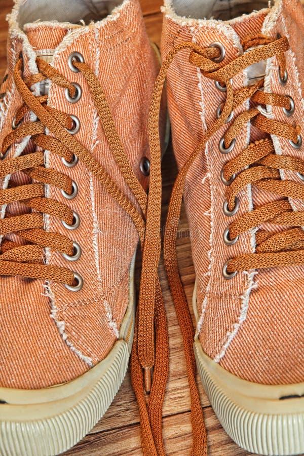 Stylish Gym shoes and Shoelaces taken closeup. stock image