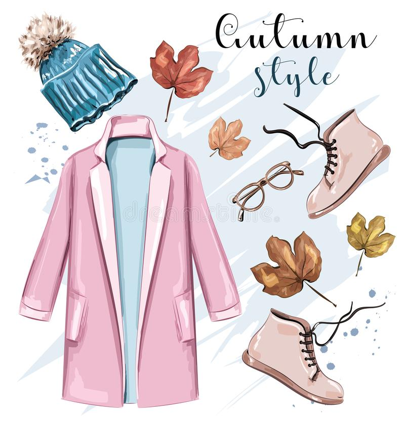 Stylish hand drawn autumn clothing outfit. Fashion clothes and accessories set. Sketch. Vector illustration stock illustration
