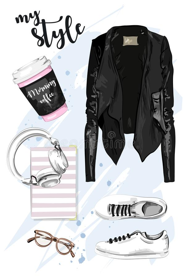 Stylish hand drawn set with leather jacket, shoes, eyeglasses, headphones, planner book stock illustration