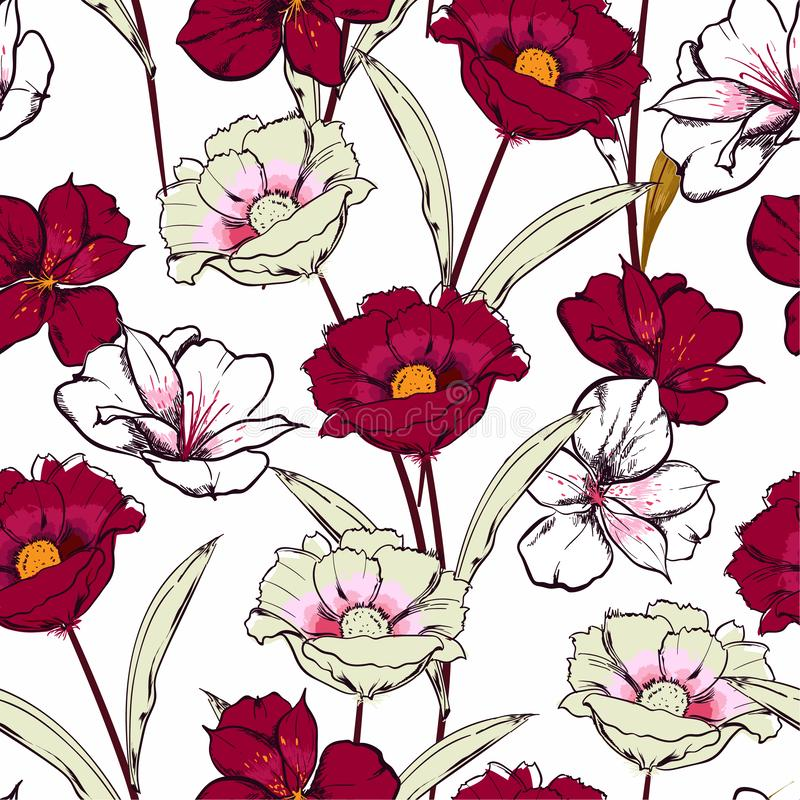Stylish Hand drawn sketch blooming flowers in the garden floral repeat seamless pattern in vector design for fashion , fabric web vector illustration