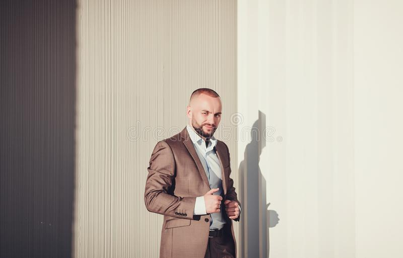 Stylish handsome man in suit stock photos