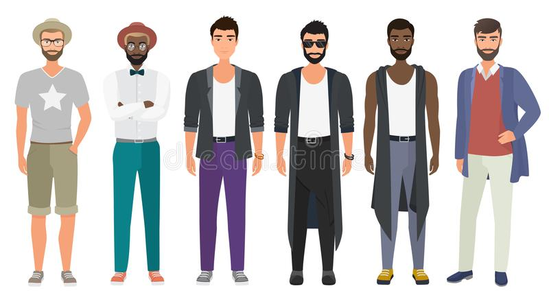 Stylish handsome men dressed in modern casual fashion male style clothes, vector illustration. Cartoon flat vector stock illustration