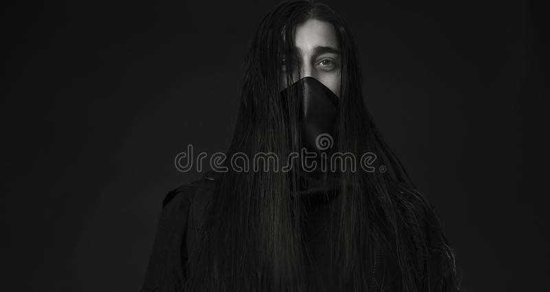 Stylish handsome Young man. Caucasian man`s portrait. man in black royalty free stock photo