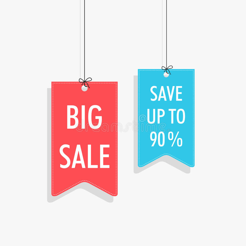 Stylish hanging tag, sticker and label of Big Sale save upto 90%. Big Sale save up to 90% tag, sticker and label with hanging style on shiny silver background vector illustration