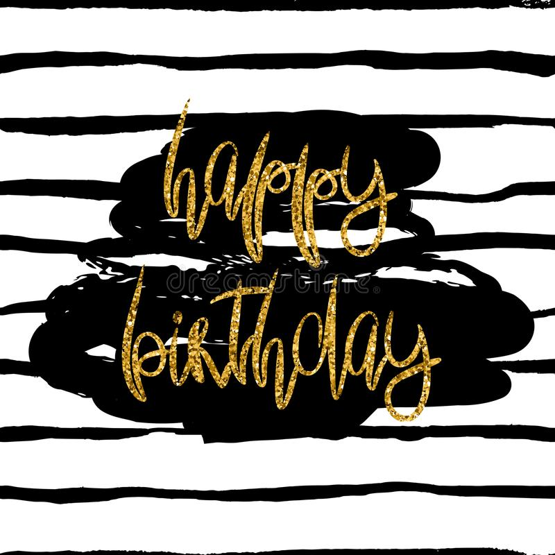 Stylish Happy Birthday Card Template Gold Glitter Phrase And Dark Paint Stain On Black White