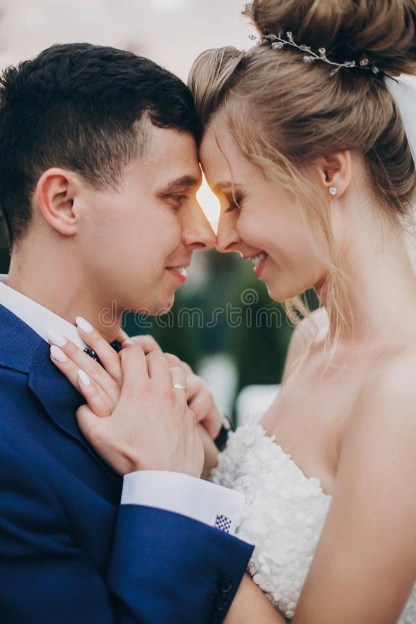 Stylish happy bride and groom posing in warm sunset light at wedding reception outdoors. Gorgeous wedding couple of newlyweds royalty free stock images