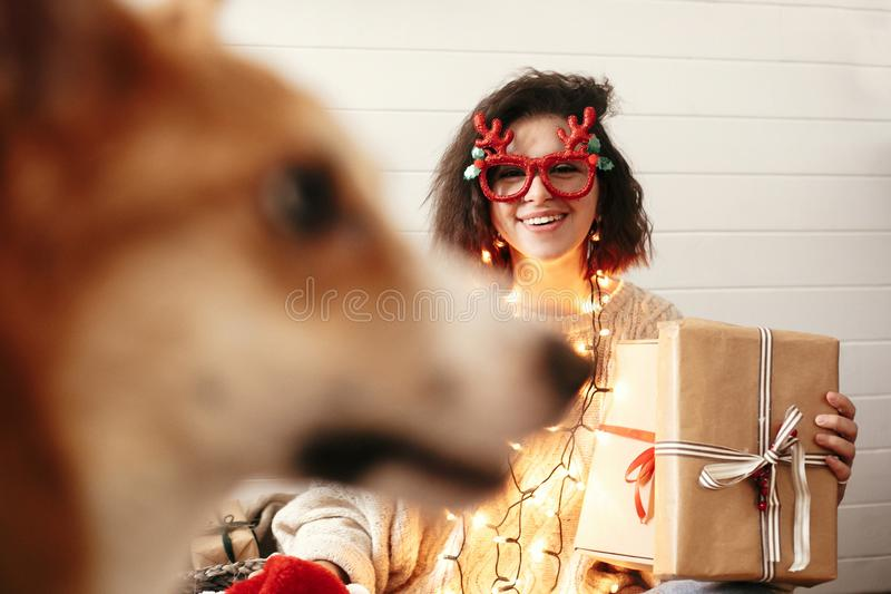 Stylish happy girl holding christmas gift box in christmas lights and smiling to cute golden dog. Young woman in festive glasses royalty free stock photography