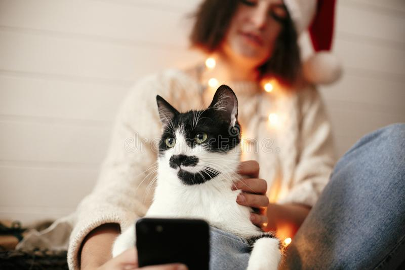 Stylish happy girl in santa hat taking selfie with cute cat in christmas lights on background of gifts. Young hipster woman in. Sweater hugging kitty with funny stock image