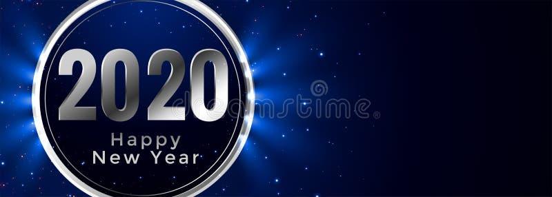 Stylish happy new year 2020 glowing blue banner design royalty free illustration