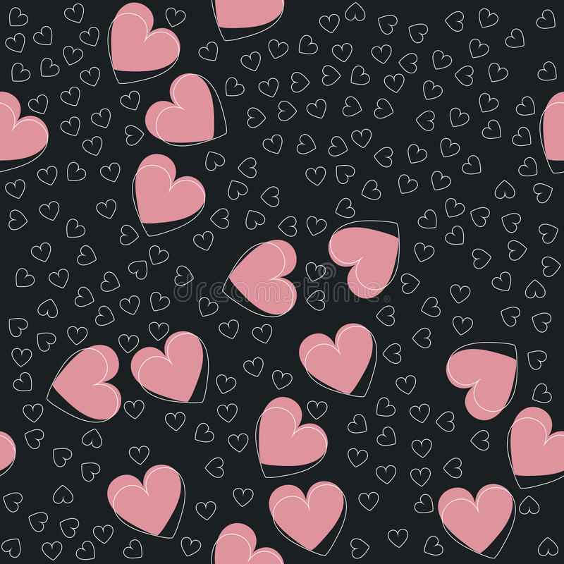 Stylish hearts on black background royalty free illustration