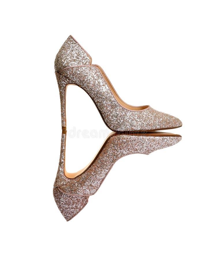 Stylish high heel shoes on white. Background royalty free stock photography