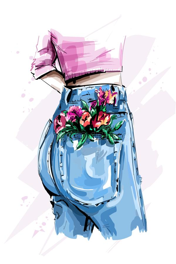 Stylish high waist back jeans. Women`s in tight blue jeans. Flowers in pocket. Sketch stock illustration