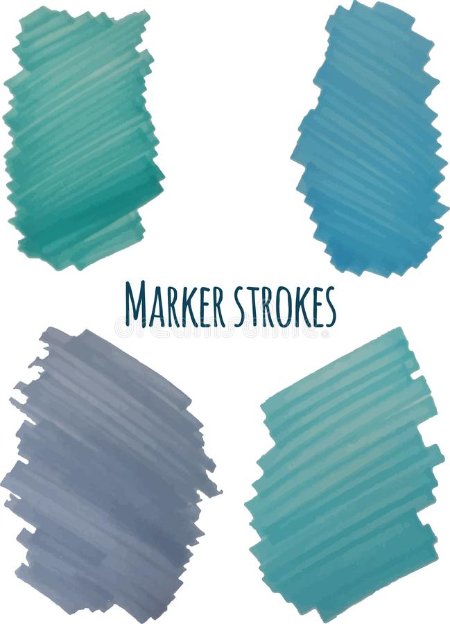 Blue highlight stripes, banners drawn with markers royalty free illustration