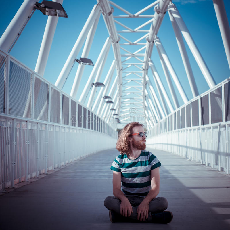 Stylish Hipster Model With Long Red Hair And Beard Yoga Royalty Free Stock Photography