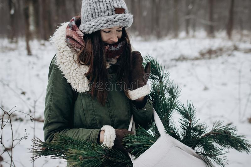 Stylish hipster woman gathering and holding pine green branches stock image